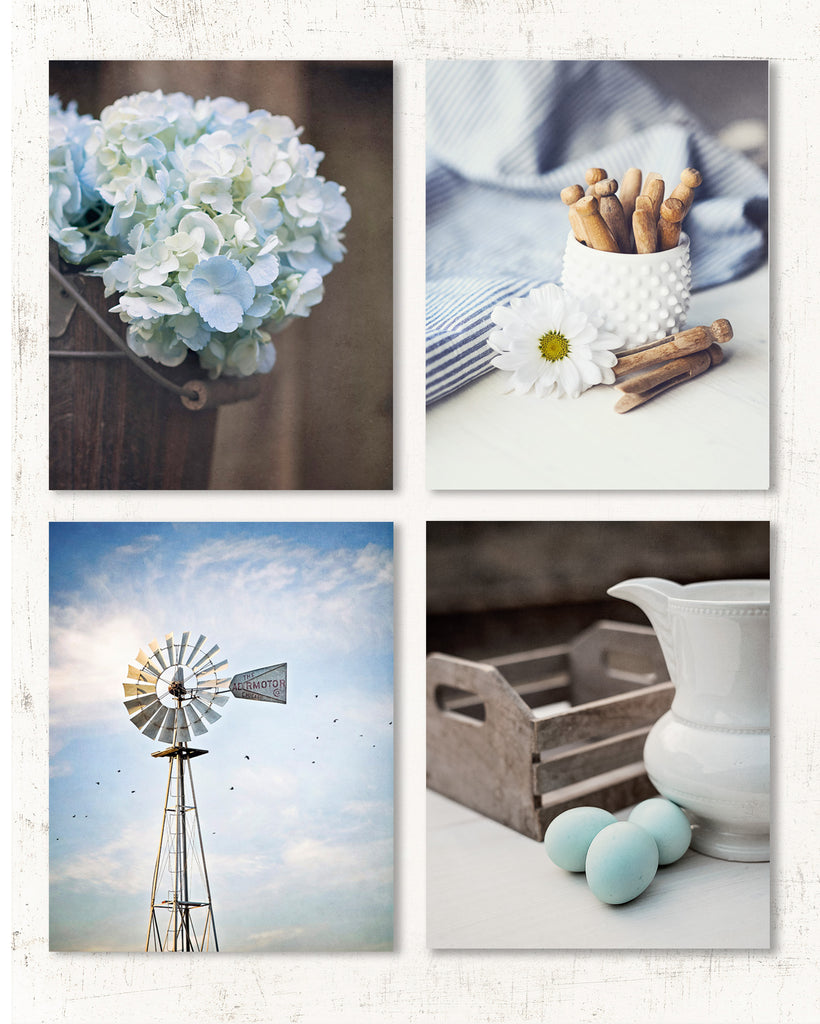 Moody Blue Farmhouse Set of Four