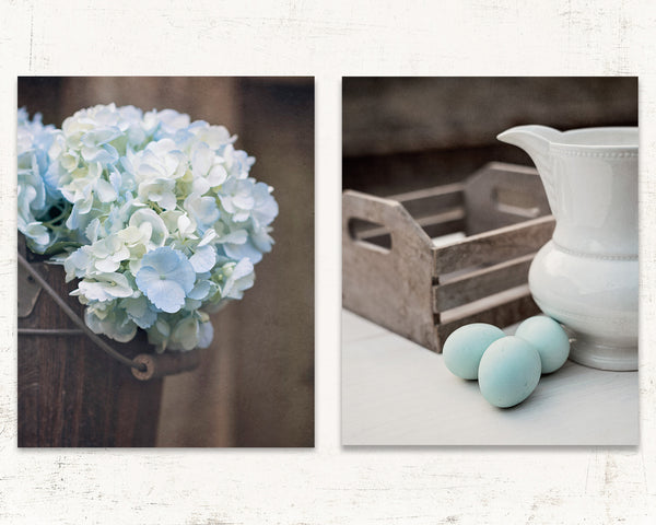 Moody Blue Farmhouse Print Set of Two