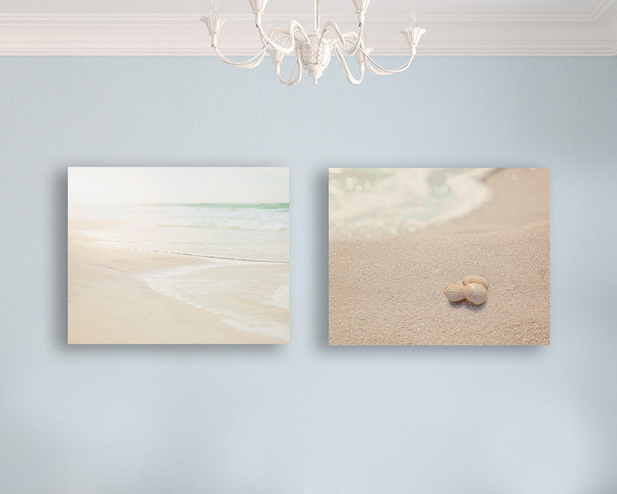 Soothing Neutral Beach Print Set of Two