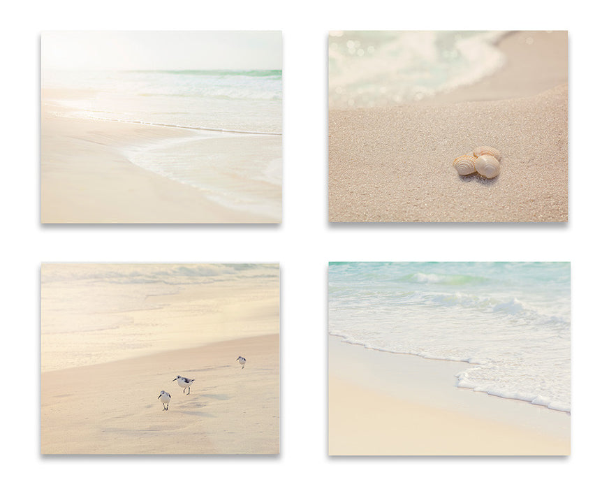 Soothing Neutral Beach Print Set of Four