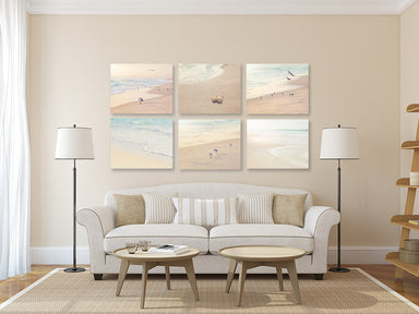 Soothing Neutral Beach Set of Six Prints