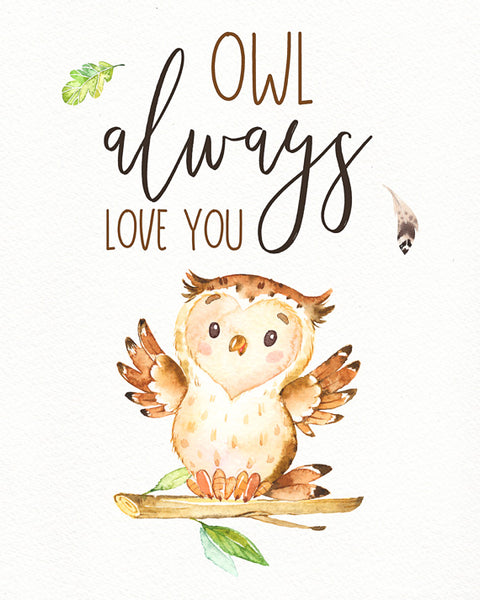 Owl Always Love You - Whimsical Boys Woodland Nursery Print