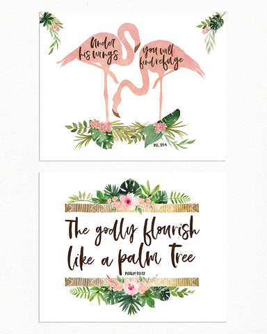 Girls Tropical Nursery Prints with Flamingos