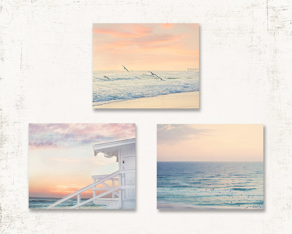 Pastel Beach Print Set of Three