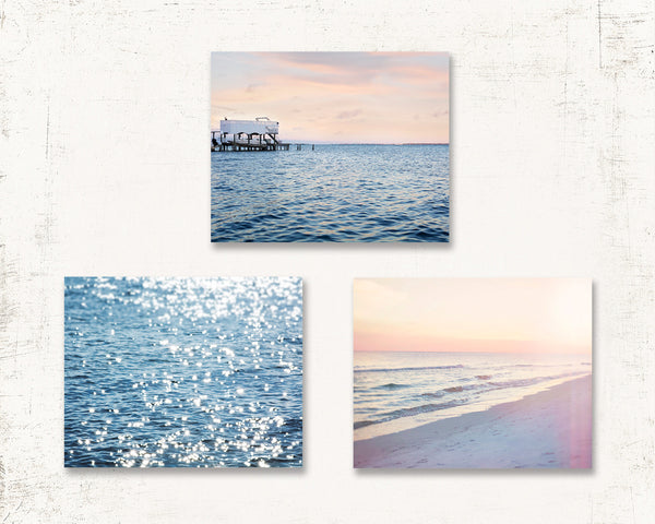 Peach and Blue Beach Set of Three