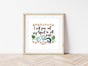 Modern Jungle Theme Nursery Print with Bible Verse