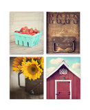 Country Decor Set of Four Prints