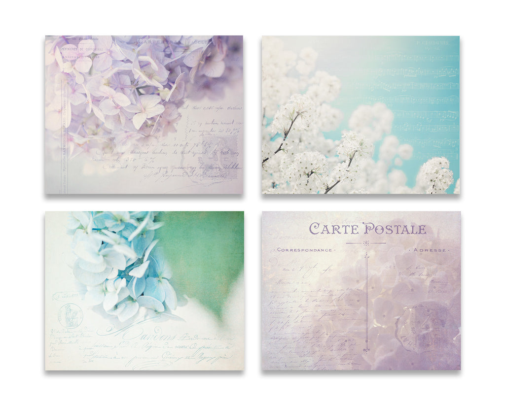 Purple and Blue Set of Four Prints