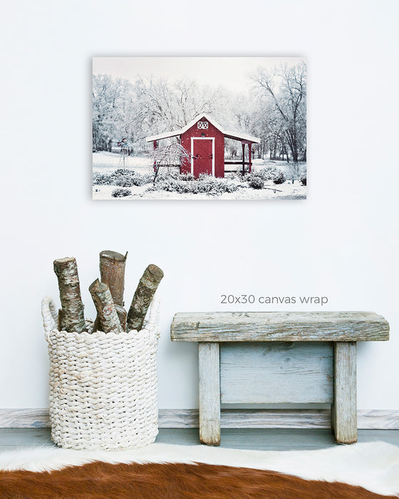 Red Barn in Snow - Landscape Photo for your Rustic Farmhouse