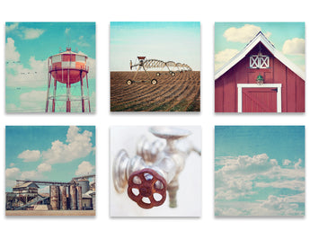 Country Farmhouse Set of Six Square Prints