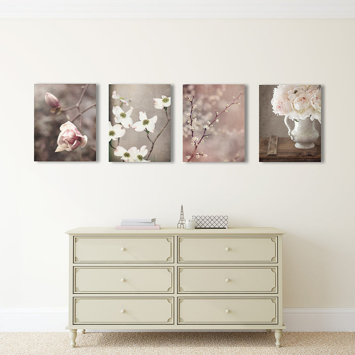 Rustic Floral Set of Four Prints