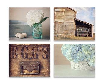 Rustic Blue Print Set of Four