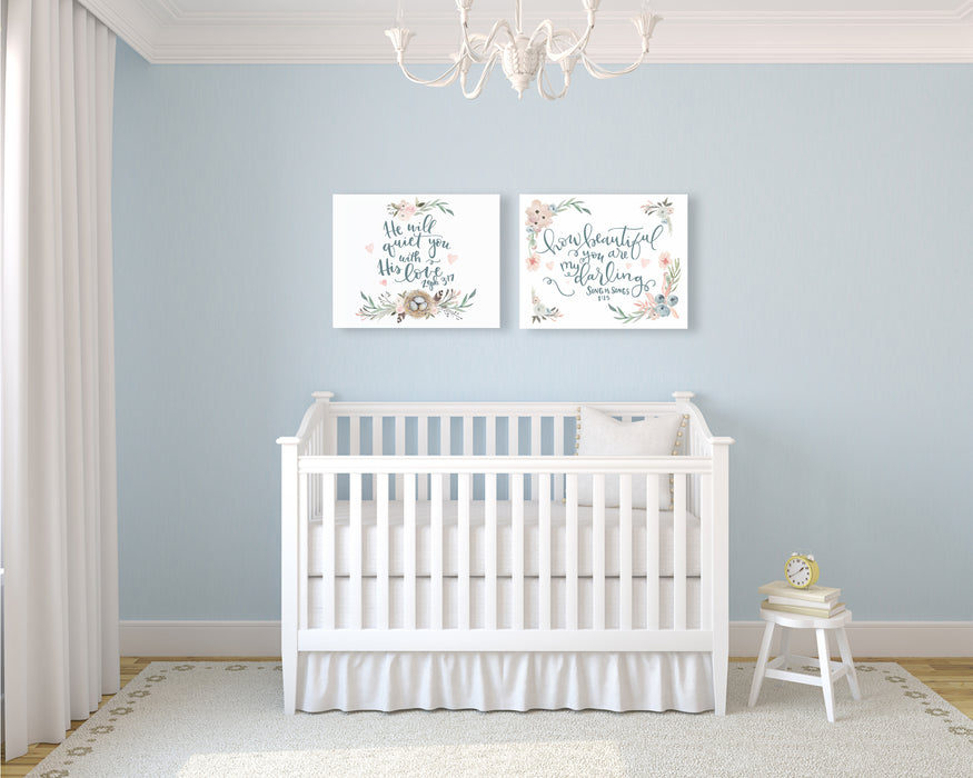 Floral Nursery Set of Two - Canvas Wraps