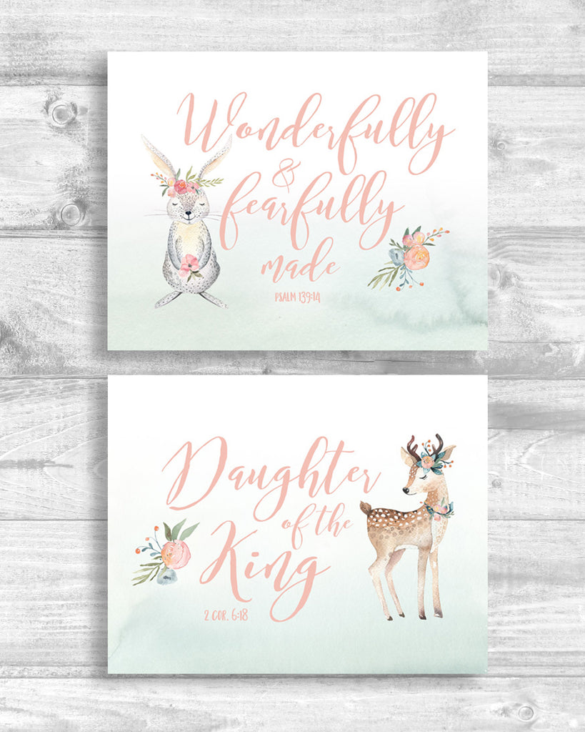 Girls Woodland Nursery Set of Two - Canvas Wraps
