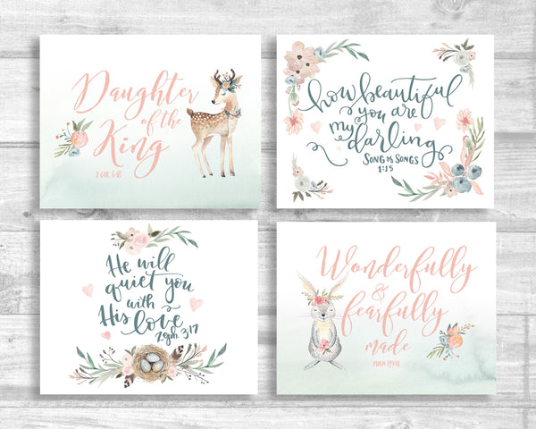 Floral Nursery Set of Four - Canvas Wraps