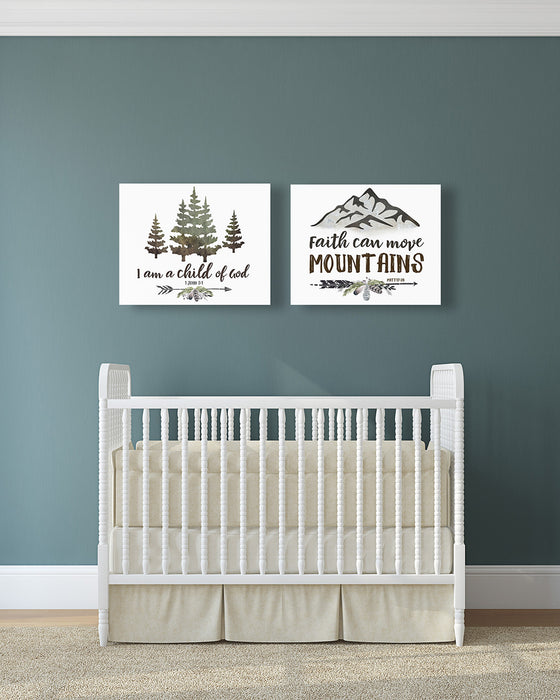 Rustic Boys Nursery Set of Two - Canvas Wraps