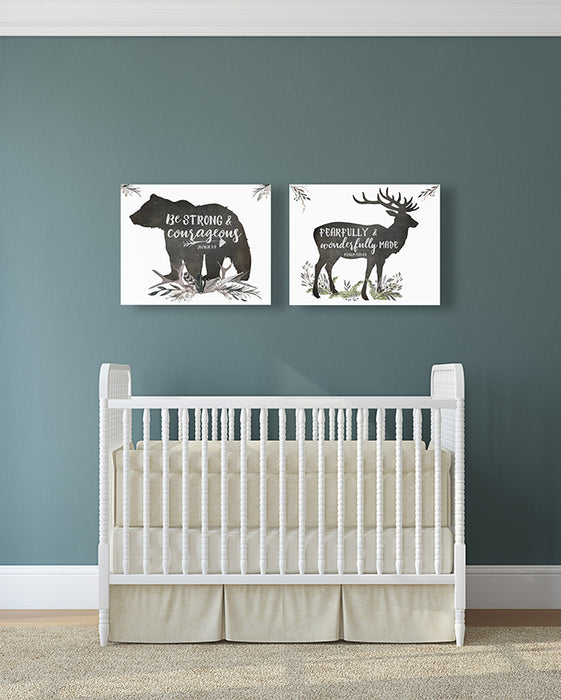 Woodland Boys Nursery Set of Two - Canvas Wraps