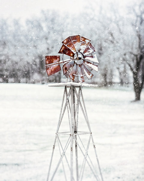 Snowy Windmill - Rustic Farmhouse Wall Decor for Winter