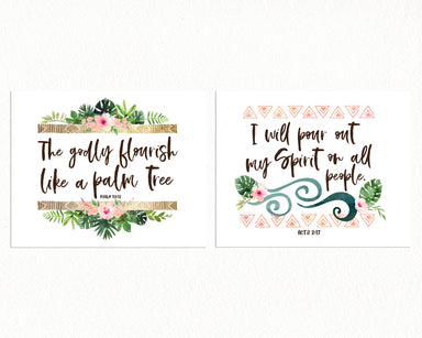Girls Jungle Nursery Prints with Bible Verses