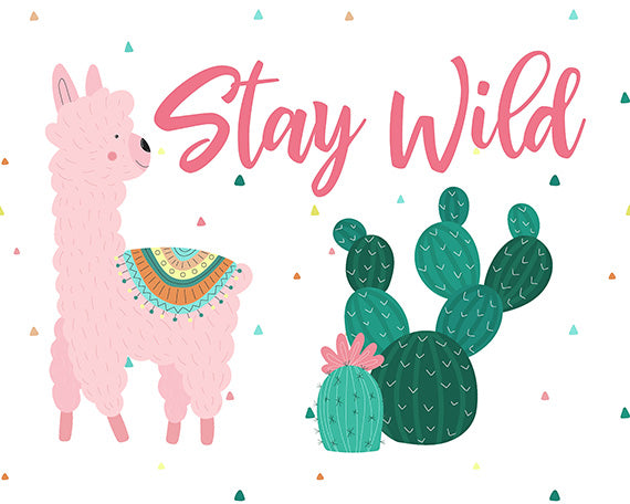 Stay Wild - Cute Llama Print for Desert Themed Girls Room