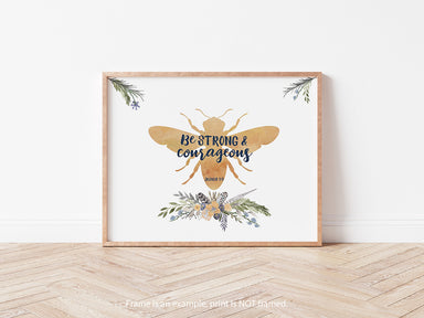 Bee Print - Girls Woodland Nursery Art in Blue and Yellow