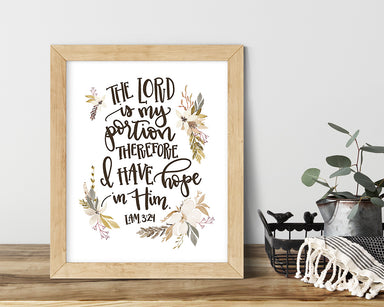 The Lord is My Portion - Kitchen Quote Print