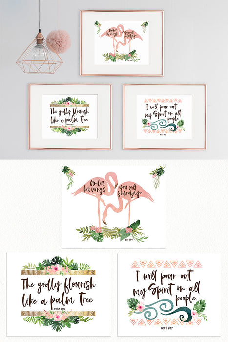 Set of Three Tropical Jungle Prints for Girls