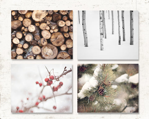 Warm Winter Wall Decor - Set of Four Prints or Canvas Wraps