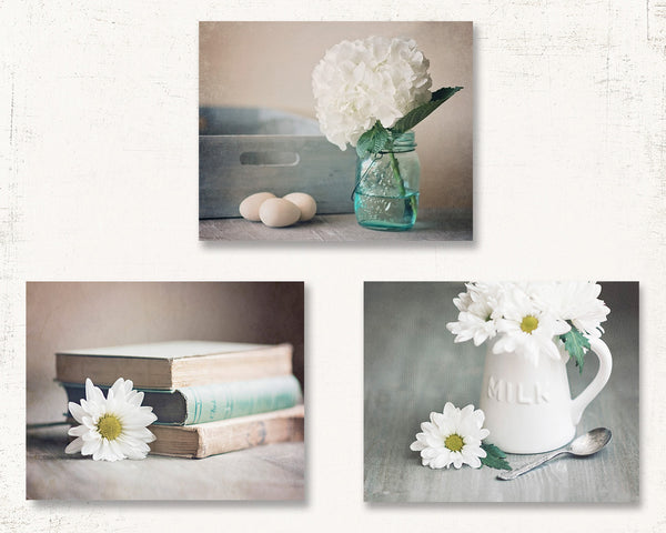 White Flower Set of Three Rustic Prints