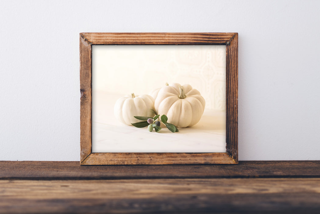 White Pumpkins - Rustic Dining Room Decor for Fall