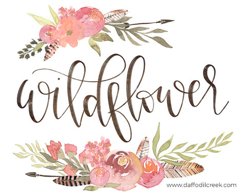Wildflower - Lettered Print for Bohemian Nursery