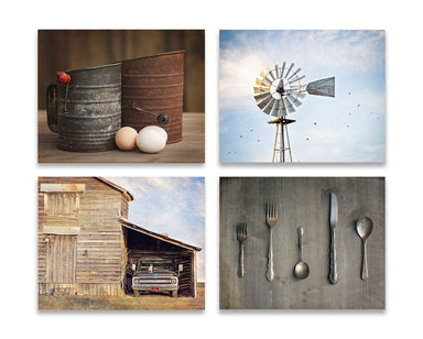 Rustic Kitchen Set of Four with Windmill