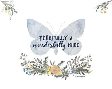 Butterfly Print - Girls Woodland Nursery Art with Bible Verse