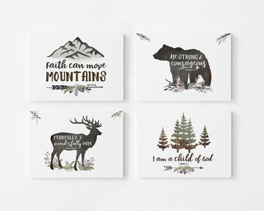 Woodland Boys Room Set of Four - Canvas Wraps