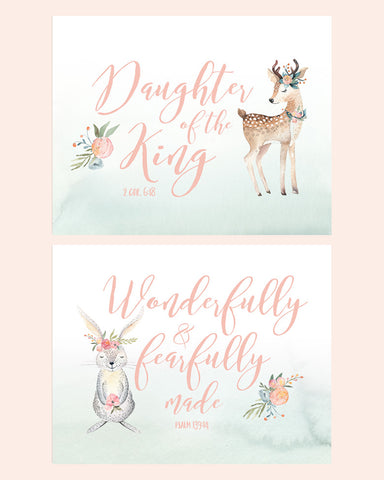 Woodland Girls Nursery Set of Two