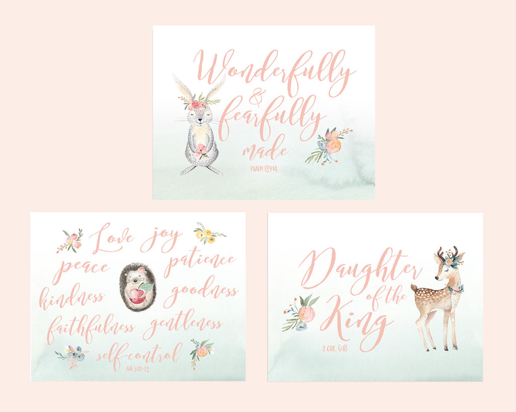 Girls Woodland Nursery Set of Three Prints