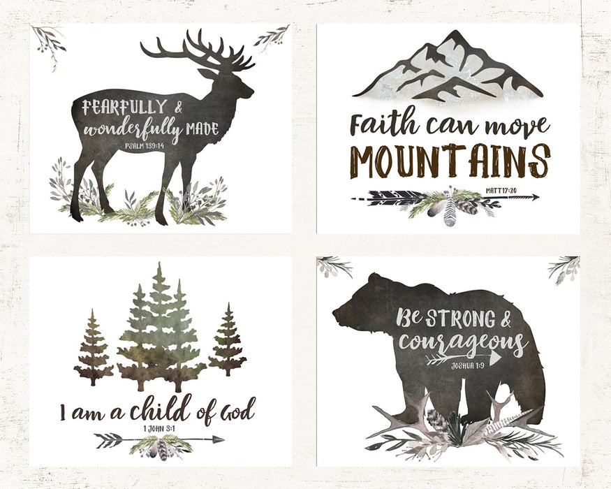 Rustic Woodland Set of Four Lettered Prints