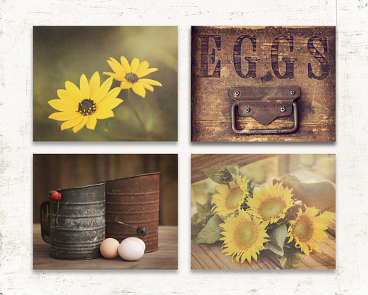 Rustic Yellow Kitchen Print Set of Four