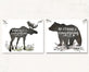 Bear and Moose Woodland Nursery Prints with Bible Verses