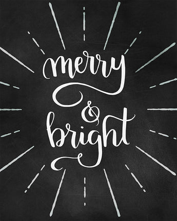 Merry and Bright - Lettered Chalkboard Print