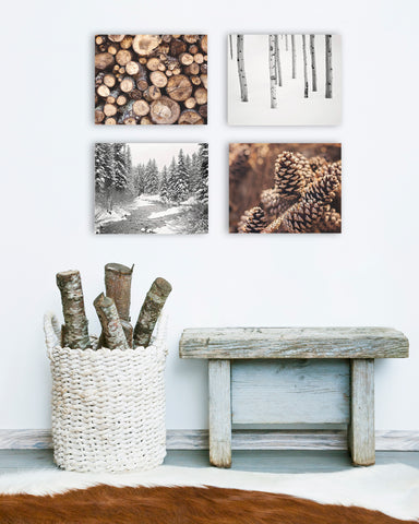 Rustic Woodland Wall Art Set of Four