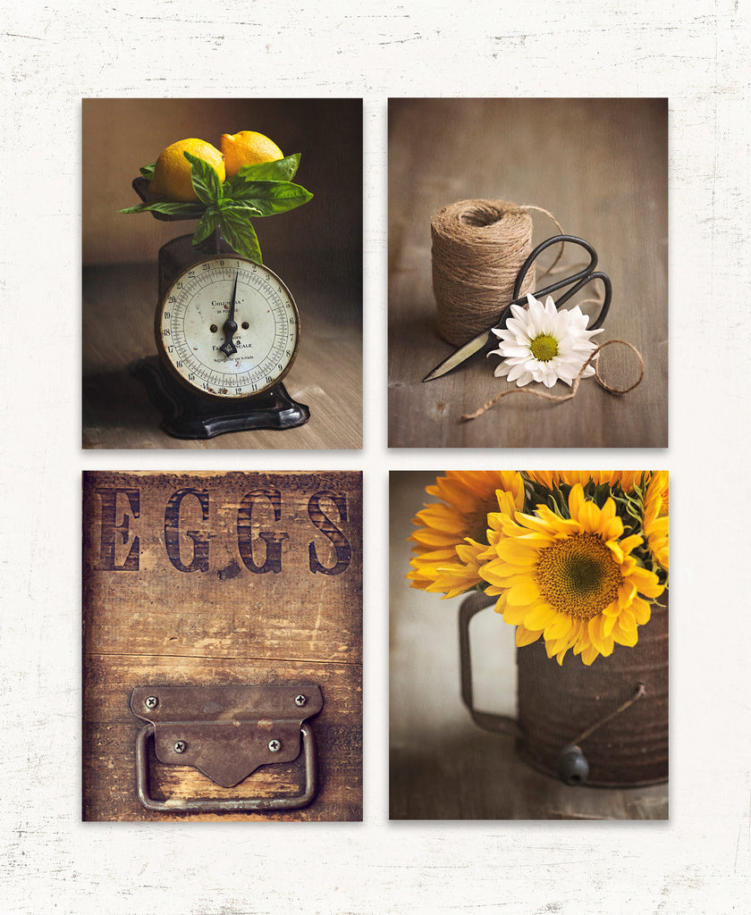 Rustic Kitchen Wall Art Set of Four in Yellow and Brown