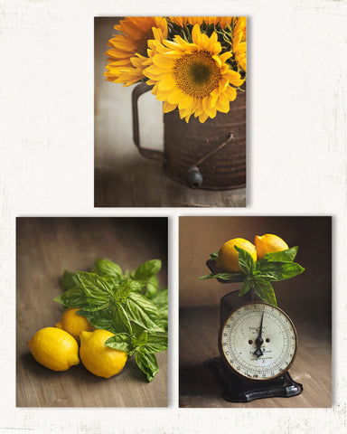 Yellow Country Kitchen Wall Decor Set of Three