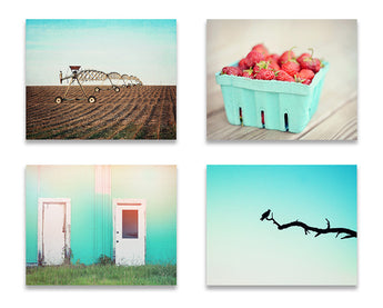 Turquoise Farmhouse Print Set of Four