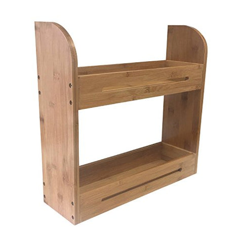 Large Bamboo Spice Rack Two Tiered Wooden Shelf Herbs Organizer For Countertop and Wall Mounted Use
