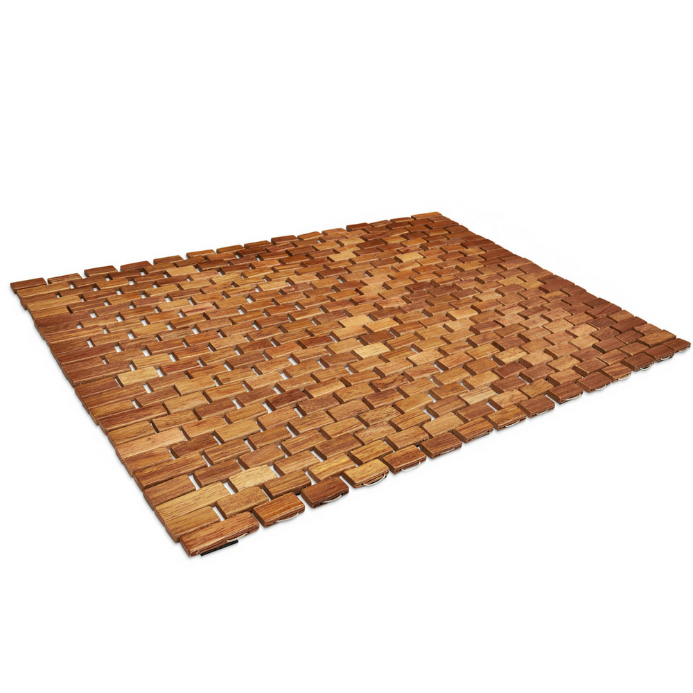 teak slipping be prevent easily square unsealed mathelp your or left bathroom can stunning it mats l in wood around mat shower with this