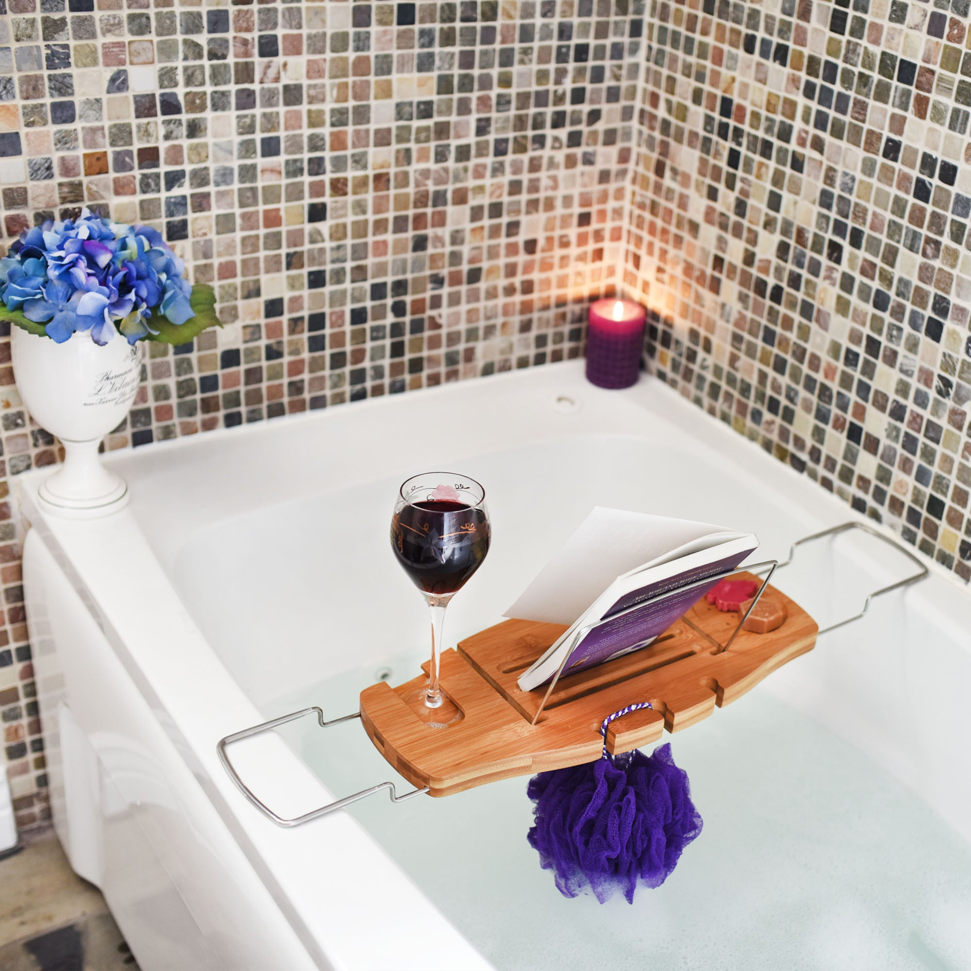 ... Luxury Bamboo Bathtub Caddy Tray With Reading Rack And Wine Glass  Holder In The Bath Tub ...