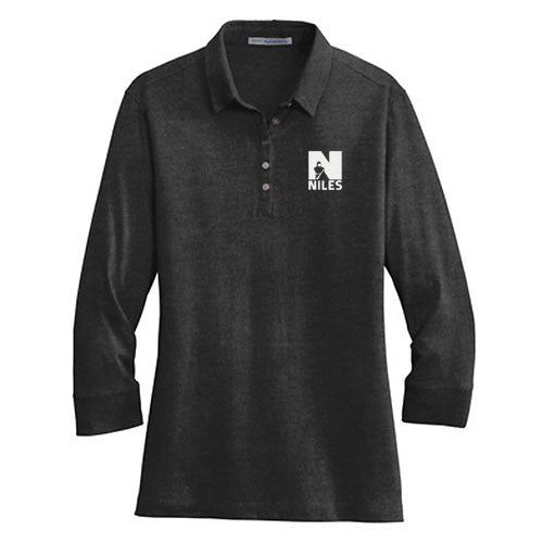 Port Authority Ladies 3/4 Sleeve Meridian Cotton Blend Polo - Black