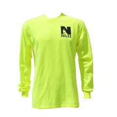 Gildan Ultra Cotton Longsleeve Basic T-Shirt Logo & Slogan on Back - Safety Green