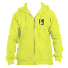 *Limited Sizing - Gildan Dryblend Hooded Full Zip Sweatshirt - Safety Green